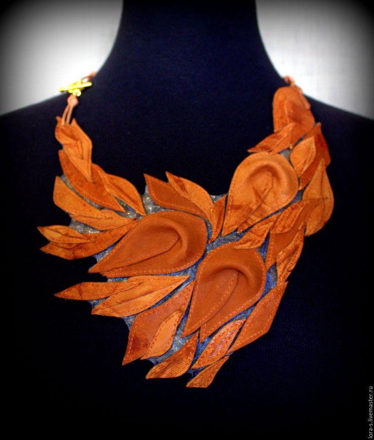 """Купить Колье кожаное """"Fairytale"""" - оранжевый, украшения ручной работы, украшение из кожи, осенние листья"""