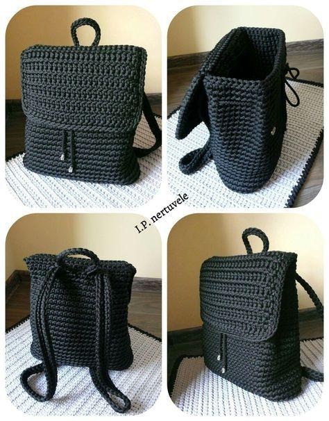 Crochet backpack pattern inspiration / crochet bag from t-shirt yarn.