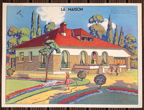 Vintage French School Poster The Home & by wafflesandsprout