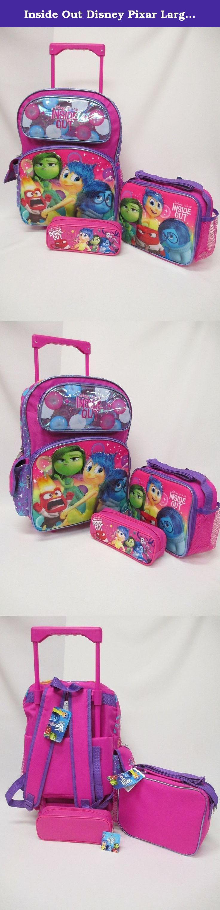 "Inside Out Disney Pixar Large 16"" Rolling Backpack Roller Book Bag, Lunch Box & Pencil Pouch. Inside Out Rolling Backpack Set!. Rolling Backpack. Lunchbox. Pencil Pouch. This complete set is offered by seller Bag2School."