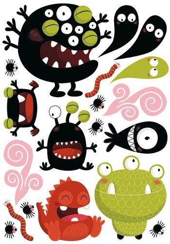 Commandez dès maintenant notre Stickers enfants monstres rigolos - Autocollants muraux. Les Contemplatives - Spécialiste sur Internet pour tous vos achats de FANTAISISTES / enfants.