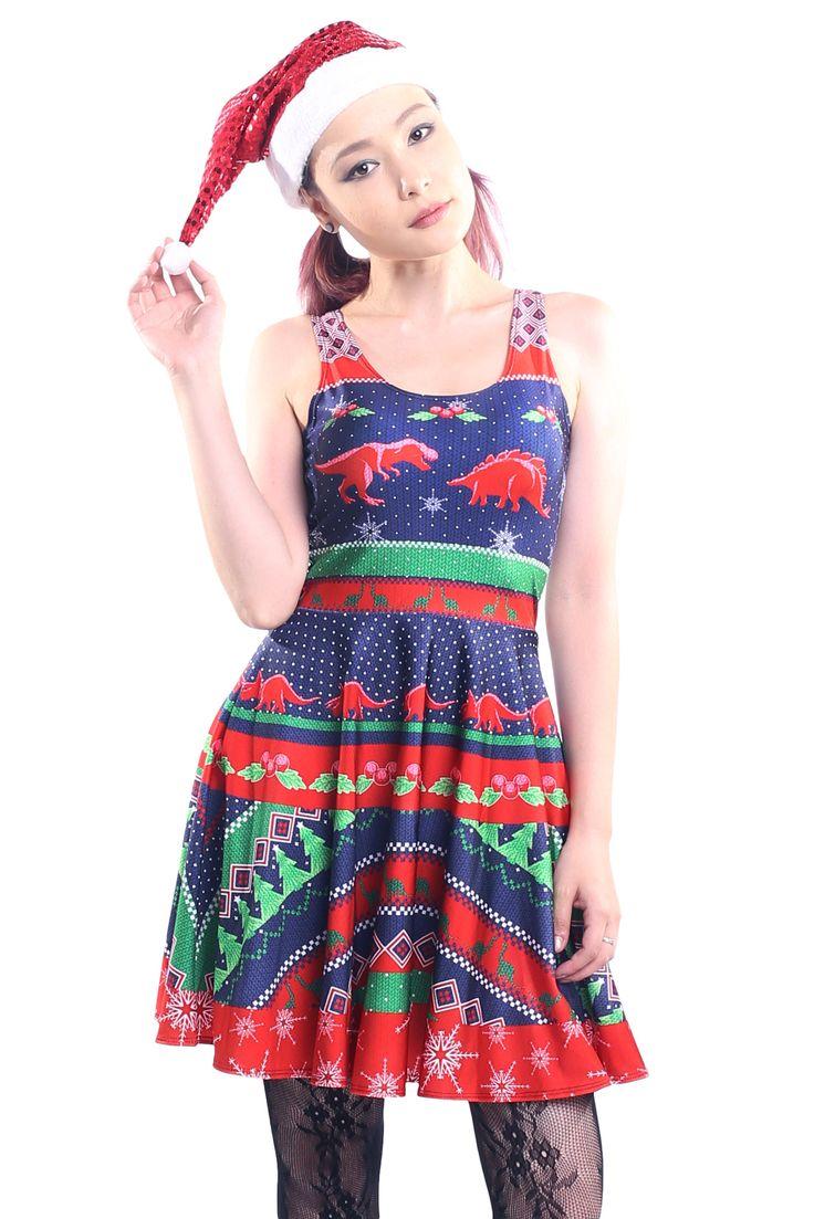 Dinosaur Ugly Christmas Skater Dress - $79.00 AUD