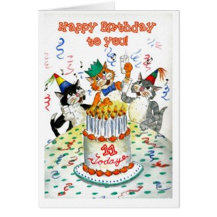 Comic Singing Cats Age-specific 11th Birthday Card - birthday gifts party celebration custom gift ideas diy