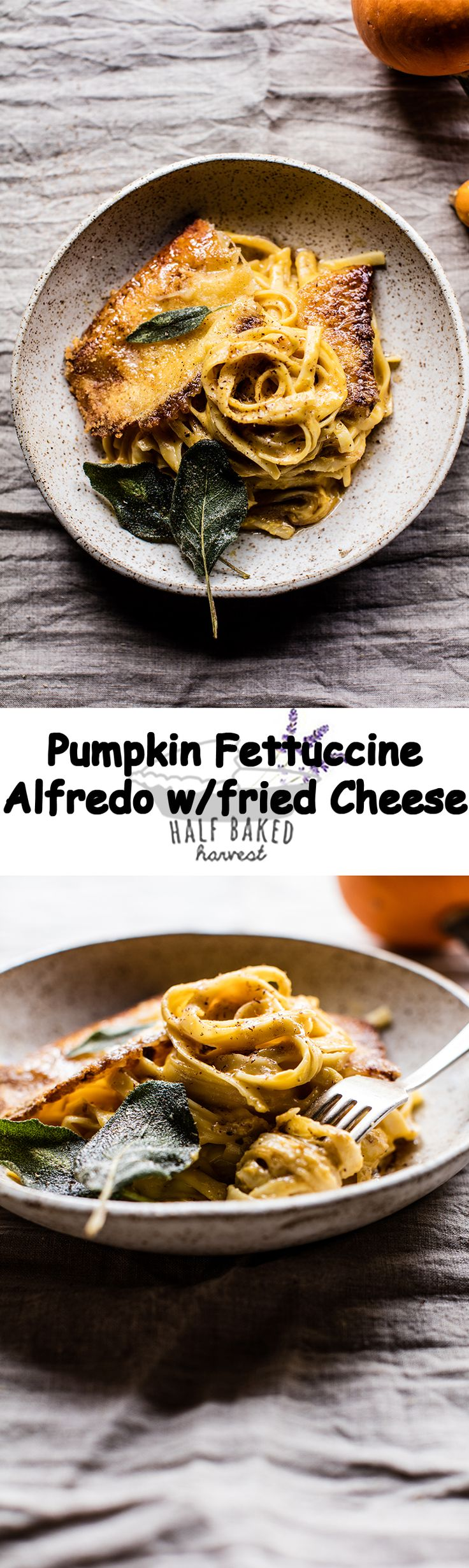 Brown Butter Pumpkin Fettuccine Alfredo with Fried Cheese | Recipe