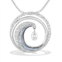 White Gold Ultimate Wave Shimmer Pendant with Pavé Diamonds and White Mother of Pearl (Chain Included) - New From Na Hoku - Shop at www.nahoku.com