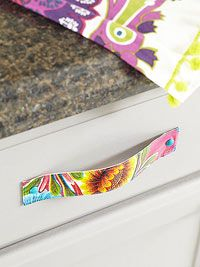 DIY cabinet drawer pulls made from oilcloth.