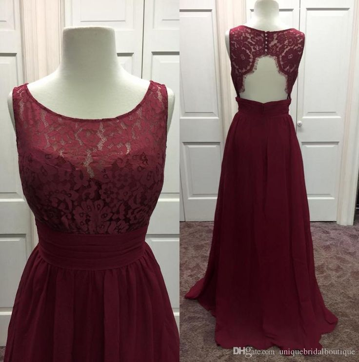 2016 New Burgundy Bridesmaid Dresses Real Pictures Jewel Neck Chiffon And Lace Floor Length Guest Gowns With Backless And Sleeveless Champagne Bridesmaid Dress Charcoal Bridesmaid Dresses From Uniquebridalboutique, $102.52| Dhgate.Com