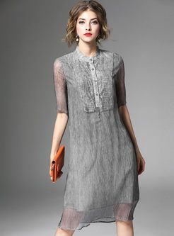 Vintage Mesh Embroidery Patch Single-Breasted Dress