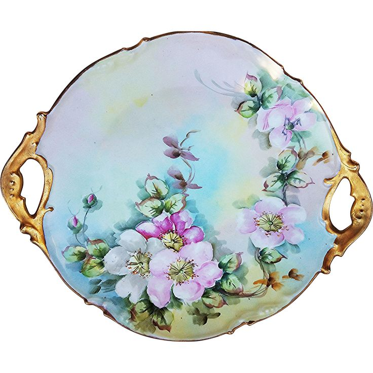 Attractive Jean Pouyat Limoges France 1900's Hand Painted 'Apple Blossoms' 11-1/2' Floral Plate by the Artist 'MER'