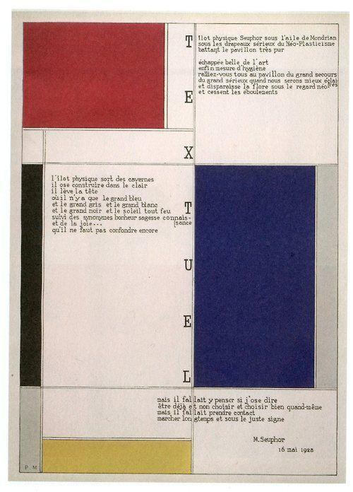 Resultat d'imatges de mondian tableau-poème de michel seuphor 1930