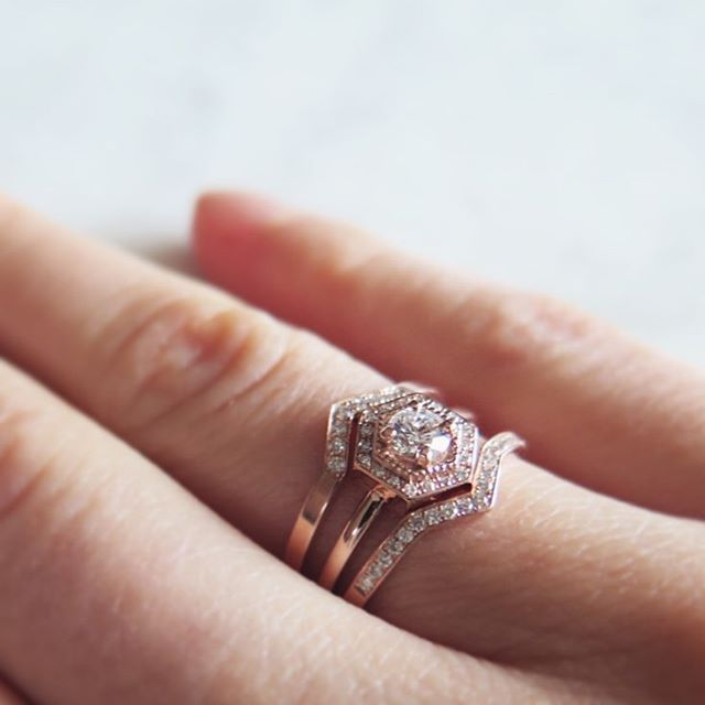 Sometimes two wedding bands are better than one. Try this symmetrical (and stunning) look.