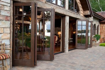 large exterior cedar and glass bi-folding doors...so cool!!!!