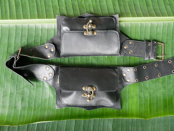 Black leather waist bag, burning man fashion steampunk, festival bag 2 pocket hip bag made of genuine leather, with 2 pockets, and hook-locks, zip locks inside and secret zip pockets on the inside of the belt size is adjustable from: 95 cm - 110 cm pocket
