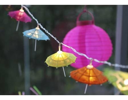 Sommer Umbrella LED Lichterkette Garten Party, Sonnenschirm Cocktailschirmchen 10tlg