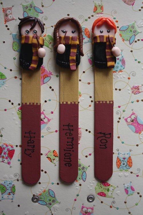 Handmade chibi Harry Potter bookmarks - Harry, Ron and ...