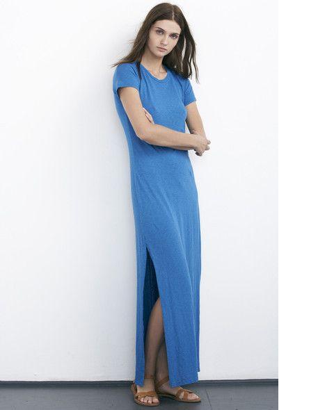 Velvet short sleeve maxi petite t-shirt with side slits blue #petitedresses