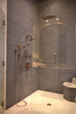 Beautiful 'Ice' Grey glass tile in shower: Found at https://www.subwaytileoutlet.com/