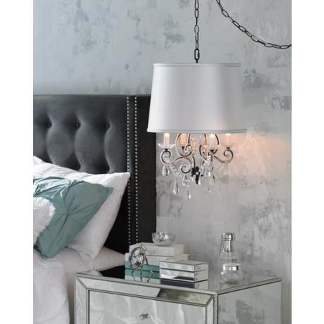 "14.5"" wide, 17"" high, Leila Black Clear Swag Plug-in Chandelier, with the shade look"