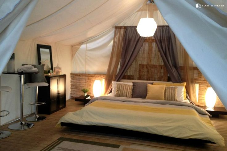 Modern and Stylish Safari Tent Camping with Fireplace in Olympia, Washington