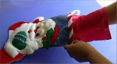 How to line your bucilla stocking kit Christmas stocking! How to line a Christmas stocking.