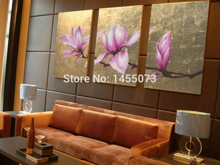 Gratis verzending! 100 % met de hand  geschilderd bladgoud roze bloem op doek stuk 3/set kunst aan de muur, thaise stijl huis decoratieve schilderij in  van Schilderen& kalligrafie op AliExpress.com | Alibaba Groep