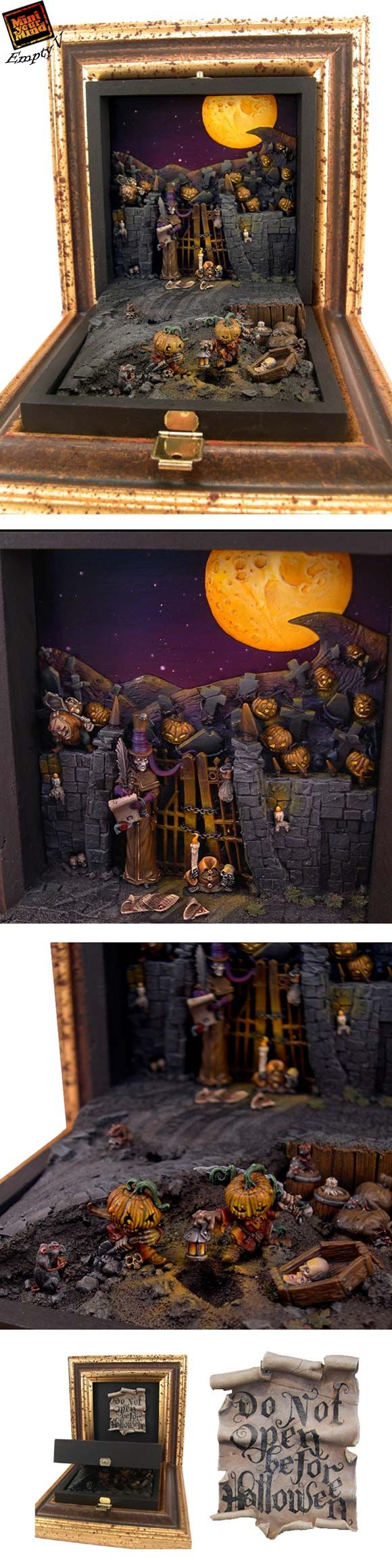 do not open before halloween focus on both big scene - Miniature Halloween Decorations