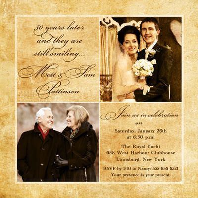 golden wedding anniversary invitations | Golden Two Photo Anniversary Invitation - Wedding Elegance