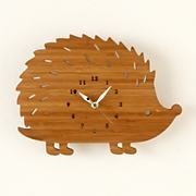 Kids' Clocks: Wooden Hedgehog Wall Clock in Clocks