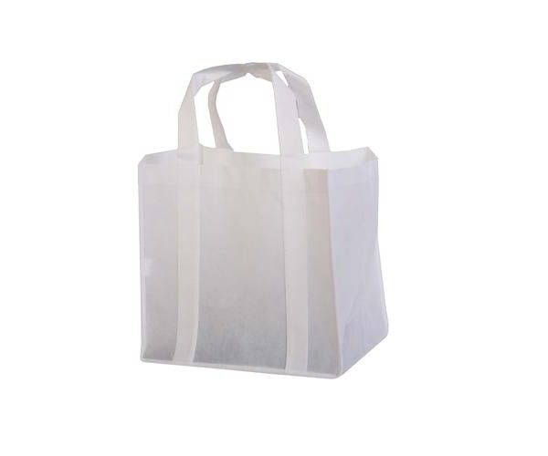NON WOVEN SHOPPING TOTE BAG  Price includes 1 color, 1 position print   2 Color imprint available for an additional charge.  Features:  80gsm non-woven polypropylene. Bound seams. 2 handles. PE baseboard.  Size: W32 x H30 x D23 cm  Print Area:  Decoration option: Screen print (nylon bags excluded), Heat transfer.  Print Area: (W) 10 x (H) 21 cm