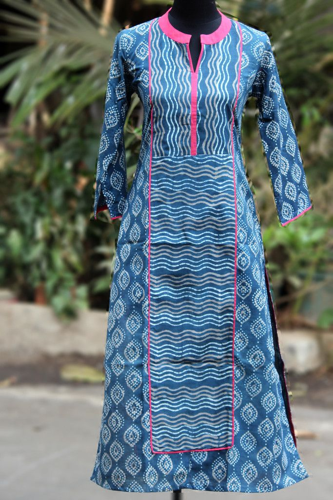 long kurta - indigo & panel