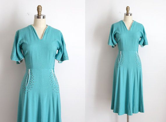 vintage 1940s Paul Sachs dress // 40s turquoise studded dress