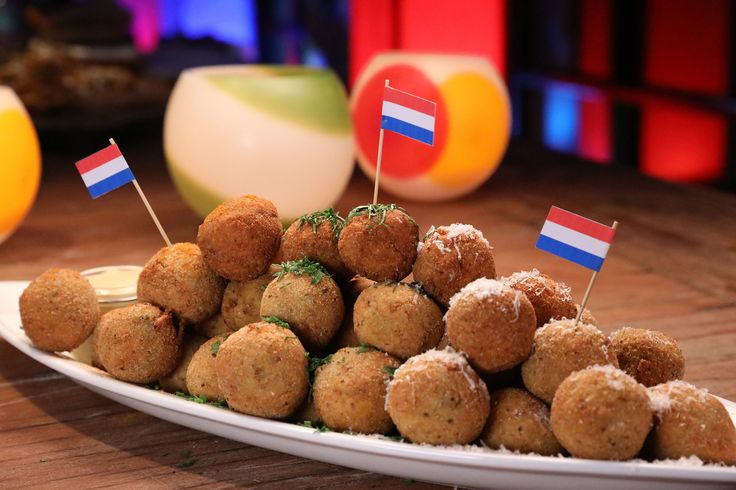 Three-flavours bitterballen (Dutch croquettes)