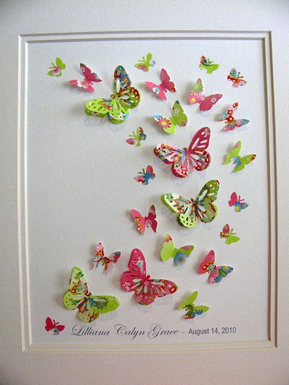 Butterfly punch outs glued to a frame