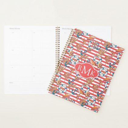 Trendy Beach Pattern | Monogram Planner - monogram gifts unique design style monogrammed diy cyo customize