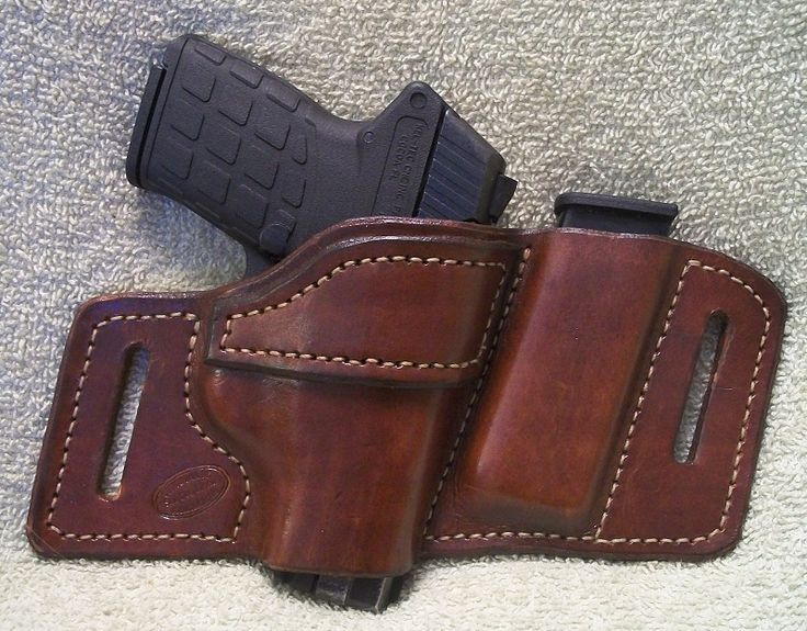 This is a custom handmade leather OWB belt holster + magazine for the Keltec PF9. It comes in either Black/Brown and for the Right/Left hand. It can be made with a Thumb snap for an extra 15$.