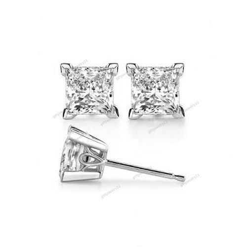 14k White Gold Plated Princess Cut D/VVS1 Diamond Women's Fashion Stud Earrings…