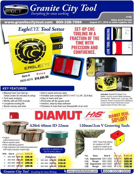 July-Aug 2016 Fabrication Flyer Highlighting some great deals and the EagleEye Tool Setter CNC