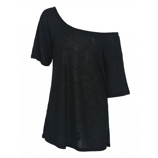 Choies Black Off Shoulder Split Side T-shirt ($13) ❤ liked on Polyvore featuring…