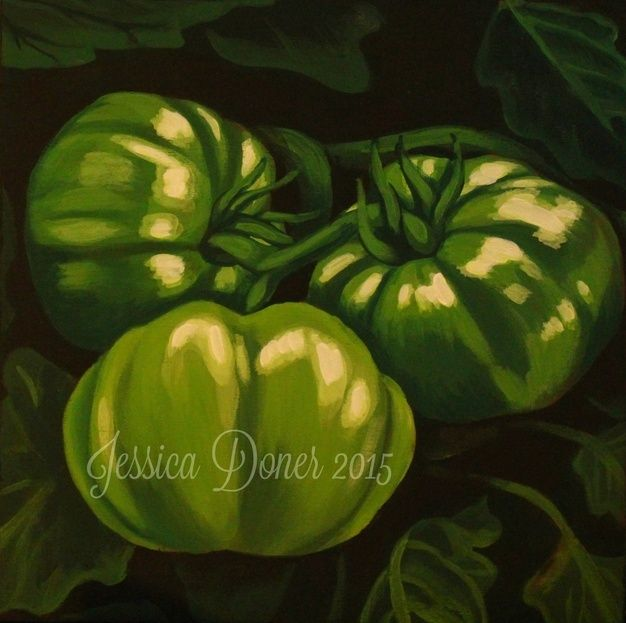 "Green Tomatoes, Acrylic painting, 10""x10"""