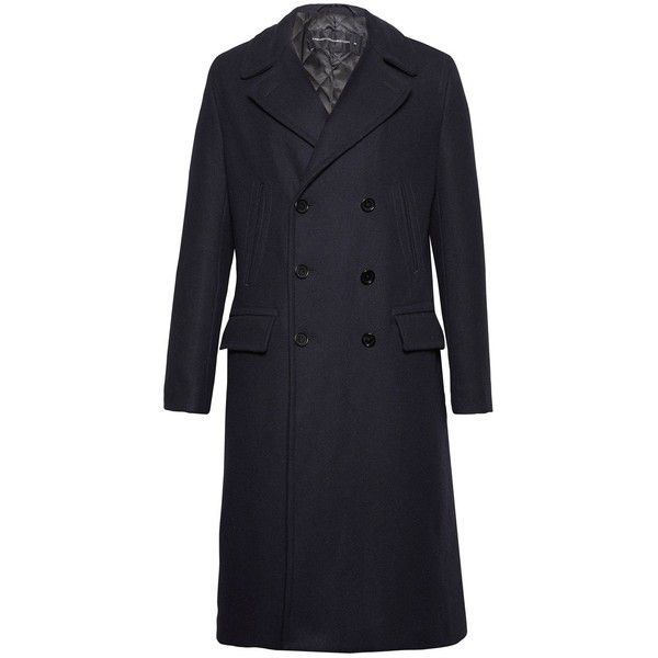 French Connection Cabafeltro Melton Coat ($205) ❤ liked on Polyvore featuring men's fashion, men's clothing, men's outerwear, men's coats, sale men coats and jackets, french connection mens coats, mens military coat, mens military style coat, mens pea coat jacket and mens long peacoat