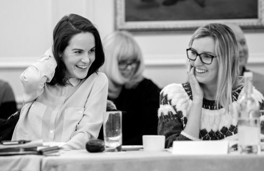 Michelle Dockery and Laura Carmichael at the first read through of Series 6