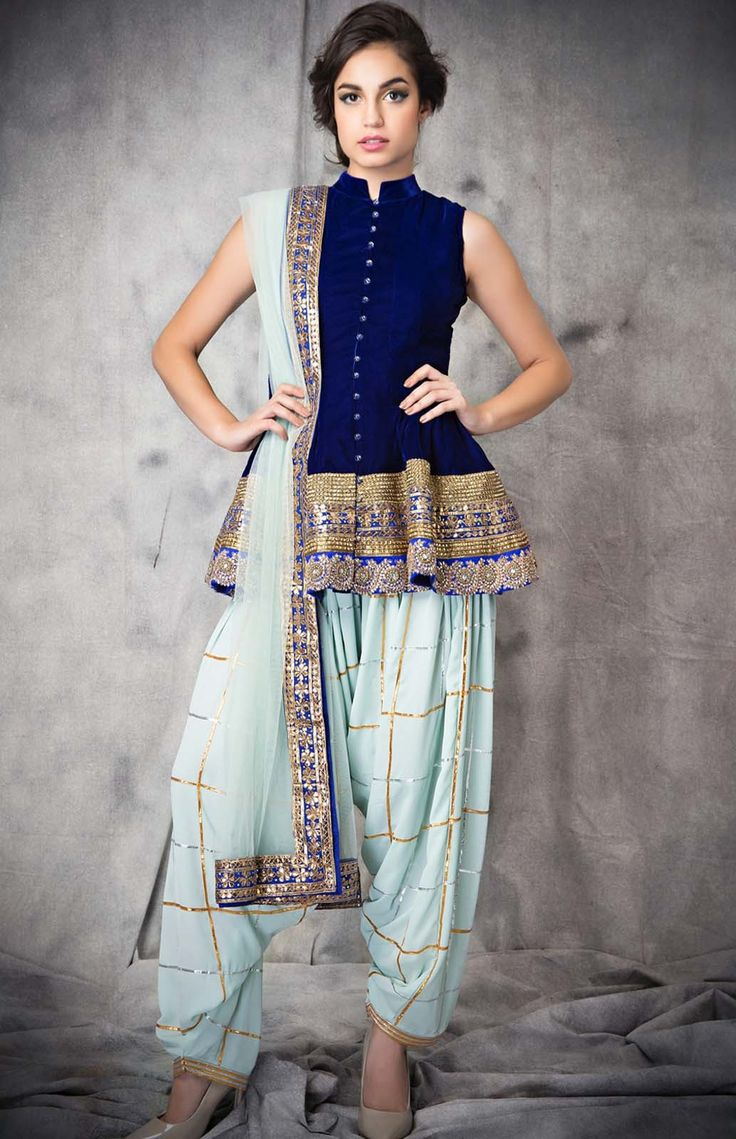 Peplum! Siddartha Tytler. Navy royal blue georgette short anarkali with borders, paired with a bordered net chunni and a gota strip periwinkle royal georgette patiala salwar