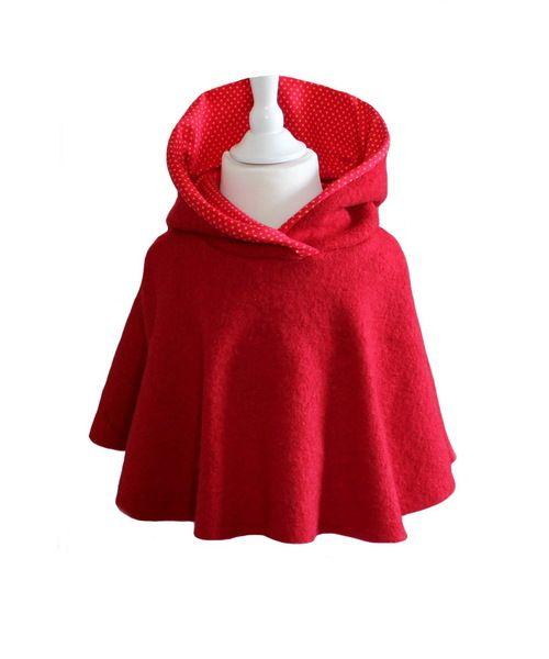 Kinderponcho Wollwalk Rot von Pumella auf DaWanda.com