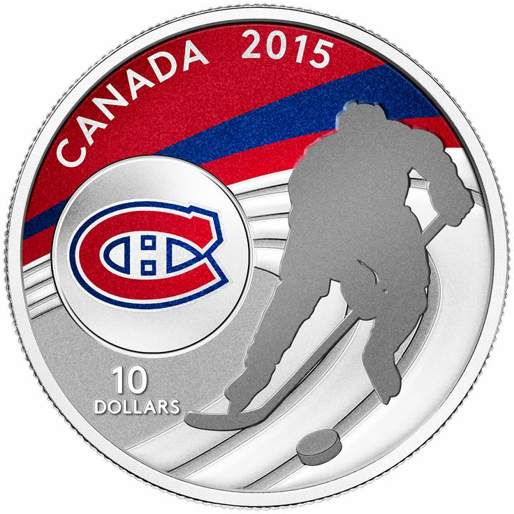 Canada 10 Dollars Silver Coin 2015 Montreal Canadiens