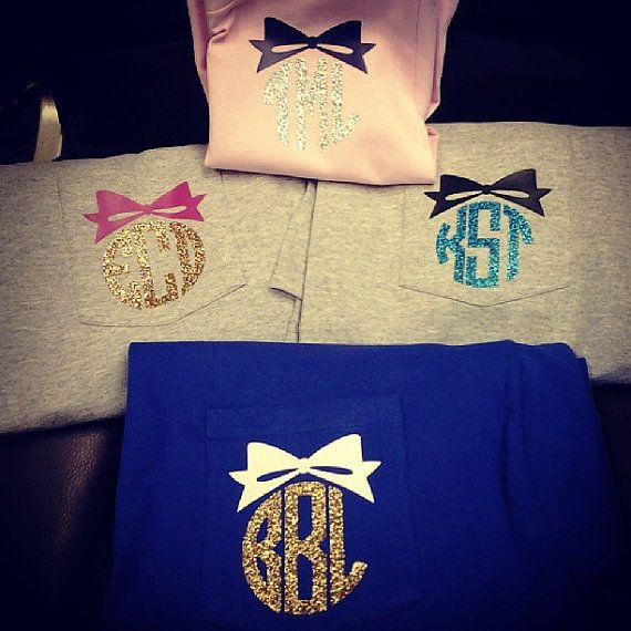 GLITTER BOW MONOGRAM Heat Press Pocket Tee