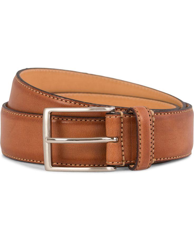 Oscar Jacobson Leather Belt 3,5 cm Brown i gruppen Tilbehør hos Care of Carl (10998811r)