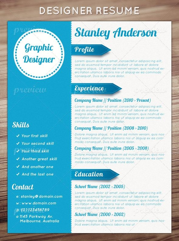 best unique resume designs images on resume design - Resume Templates For Graphic Designers
