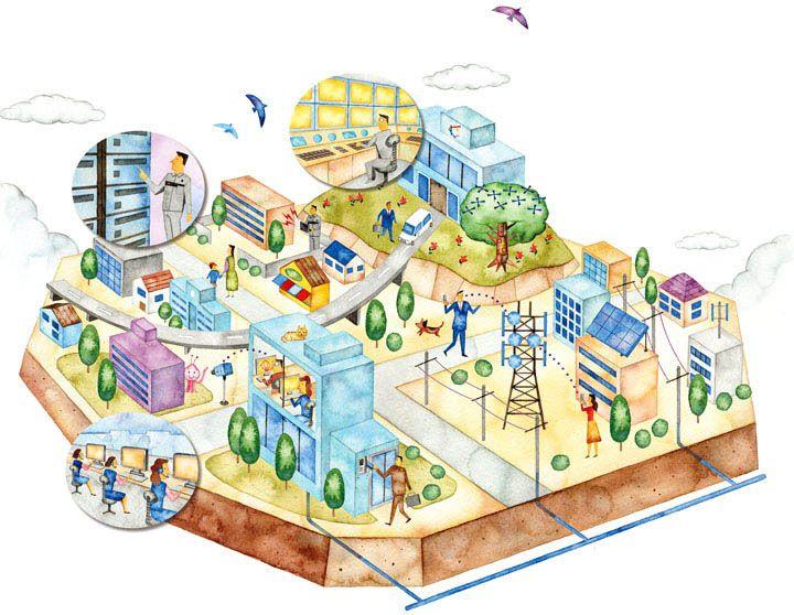 街の鳥瞰図イラスト