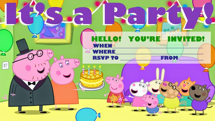 Free printable Peppa Pig party invitation  - for a sleepover party and one for a 'normal' party. See also the link to the cool Peppa Pig fac...
