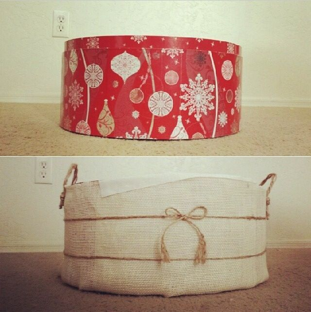 Last minute photo prop before and after! I took a glue gun to a Christmas hat box to turn it into a rustic basket with faux handles! Rustic newborn prop, diy, burlap props